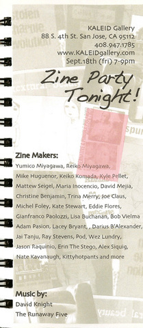 """Zine Party Tonight"" at KALEID Sept. 18th"